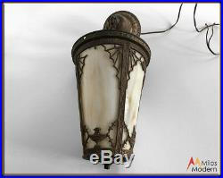 Vintage 20s Art Nouveau Brass and Slag Glass Pendant Light Ceiling Lamp Fixture