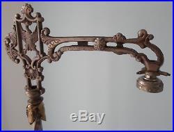 Vintage 30s Art Deco Jadeite Slag Glass Bridge Floor Pole Lamp Ornate Base & Top