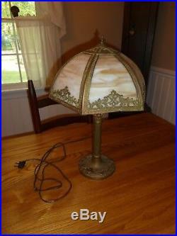 Vintage 6 panel slag glass table lamp 24 high lamp art nouveau & crafts antique