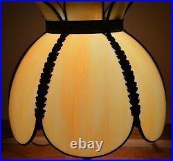 Vintage Antique 6 Panel Slag Glass Metal Lamp Shade Tiffany Style Tulip Shape