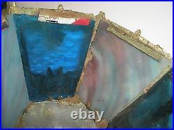 Vintage Antique Arts & Crafts Blue Purple Slag Glass Lamp Shade 7.5 Dia x 4 H