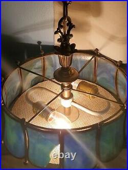 Vintage Antique Blue/Green SLAG Glass LIGHT Antique LAMP Fixture Works
