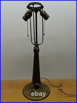 Vintage Antique Double Socket Slag Reversed Painted Glass Lamp Cast Iron Base