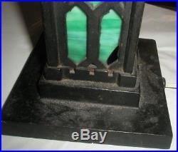 Vintage Antique Green Slag Glass Lamp Cast Iron Arts & Crafts