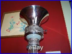Vintage Art Deco Chrome Torchiere Lamp Standing Floor Ashtray Slag Glass Ornate