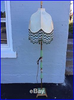 Vintage Art Deco Jadeite Glass Floor Lamp Slag Panel and Beaded Shade