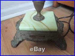 Vintage Art Deco Jadeite Slag Glass Bridge Floor Lamp Ornate Base & Top