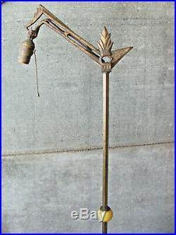 Vintage Art Deco Slag HOUZE Glass Bridge Arm Floor Lamp