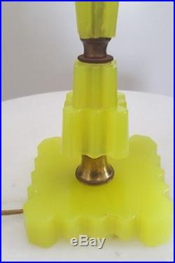 Vintage Art Deco Topaz Vaseline Houze Slag Glass Lamp Rare