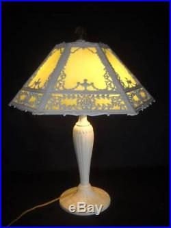 Vintage Art Nouveau 6 Panel Green Slag Glass Lamp Miller Bradley & Hubbard Era