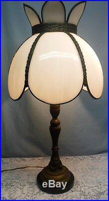 Vintage Art Nouveau Table Lamp White Slag Glass Shade Tiffany Style