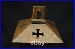 Vintage Arts & Crafts Mission Oak Wood & Slag Glass Pendant Lamp shade only