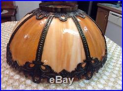 Vintage Arts & Crafts Slag Glass Lamp Shade Ornate Brass Filigree Large BEAUTY