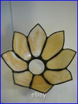 Vintage Bent Slag Glass Curved Tulip / Lotus 8 Panel Light Lamp Shade Art Noveau