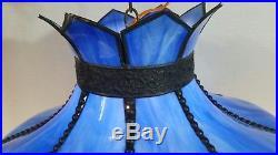 Vintage Blue Marble Slag Glass hanging pendent light lamp Antique Brass Beaded