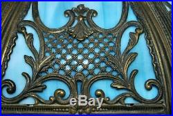 Vintage Blue Slag Glass Shade for Table Lamp 6 Panel Ornate Brass #2