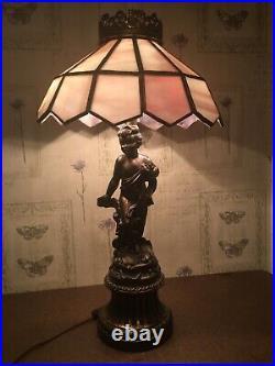 Vintage Brass Metal Cherub Double Bulb Table Lamp With Slag Glass Shade