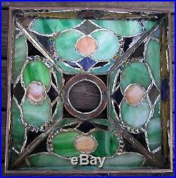 Vintage Bronze Nouveau Arts Crafts Slag Chunk Glass Mosaic Prairie Lamp 27x15