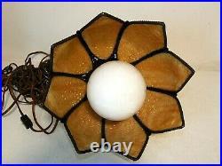 Vintage Caramel SLAG GLASS TULIP HANGING SWAG LAMP Ceiling Pendant Light Plug-In