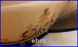 Vintage Cream Beige Tiffany Style Swag Slag Glass Hanging Lamp SARAMA LIGHTING