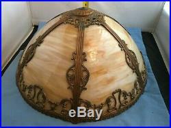 Vintage Curved Caramel Slag Glass 6 Panel Art Nouveau Design Lamp 22 Tall