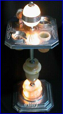 Vintage Deco Chrome Ash Stand Lamp Lighter Ashtray Mosaic Slag Glass Shades 29
