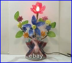 Vintage Deco/Mid Century weird peacock TV lamp with slag glass flowers & leaves