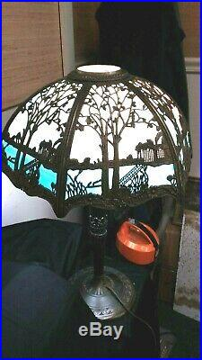 Vintage Early 20th Century Miller & Co. 6 Panel Slag Lamp