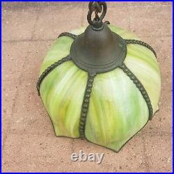 Vintage Green Slag Glass Hanging Tulip Lamp 6 Panel