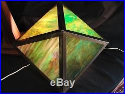 Vintage Hand Crafted Arts and Crafts Library Table Lamp Green Slag Glass Shade