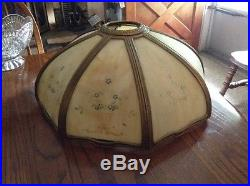 Vintage Hand Painted Eight Panel Slag Glass Table Lamp Shade