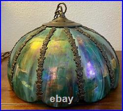 Vintage Hanging Lamp Slag Glass Blue Green Iridescent Metal Rose12
