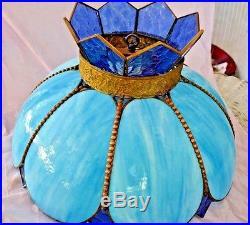 Vintage lamp shade for hanging light blue slag glass shade tiffany vintage lamp shade for hanging light blue slag glass shade tiffany style aloadofball Image collections