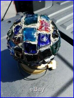 Vintage Nader 9 Chunk Slag Glass Globe Ball Lamp Marsh Style working