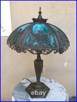 Vintage Ornate Meyda Tiffany Victorian Table Lamp Green Polygon Slag Glass Shade