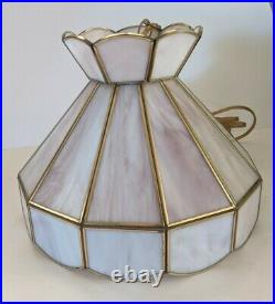 Vintage Pink Slag Glass Stained Glass Hanging Swag Lamp Light