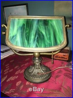 Vintage Slag Glass Desk Lamp