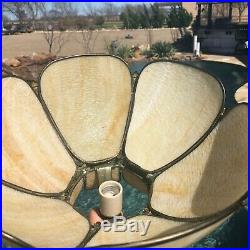 Vintage Slag Glass Hanging Chandelier Light Fixture 6 Panel Stained Glass Lamp