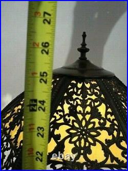 Vintage Slag Glass Lamp with 6 Camel Panel Shade 26