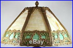 Vintage Slag Glass Table Lamp 8 Panel Caramel & Green Brass Frame 22 3/4