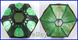 Vintage Slag Glass Table Lamp Molded Green Glass Art Nouveau Floral Base 19 1/2