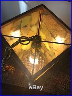 Vintage Slag Glass Teak Multi-color Hanging Ceiling Lamp