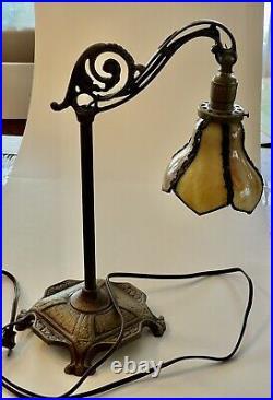Vintage Table Bridge Lamp with Antique Slag Glass Shade