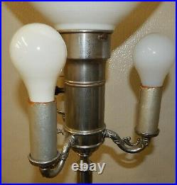 Vintage Tall Art Deco 5-Light Floor Lamp Green Slag Glass Nightlight Base