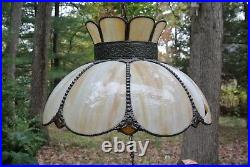 Vintage Tan Curved Panel Slag Glass Hanging Lamp 18 Width for Repaired