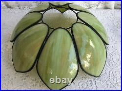 Vintage Tiffany Style Slag Stained Glass Tulip Lamp Shade #3