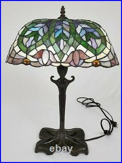 Vintage Tiffany Style Stained Glass Lamp Tulip Design Jeweled Art Nouveau 21