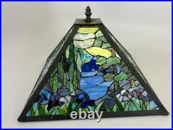 Vintage Tiffany Style Stained Slag Ripple Glass Landscape Scenic 14 Lamp Shade