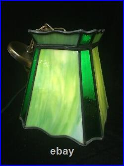 Vintage Unusual Green Stained Slag Glass Hanging Ceiling Light Fixture Swag Lamp
