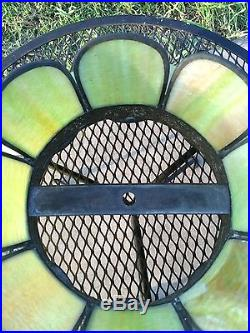 Vintage Victorian Slag Glass Carmel/Green/Lime Green Lamp Shade! Excellent Cond
